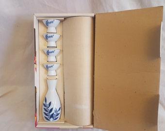 5pc Vintage Made in Japan Porcelain Gekkeikan Sake Set