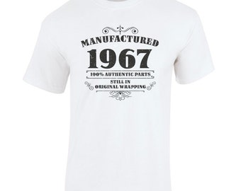 Men's 50th Birthday T Shirt Manufactured 1967 50th Birthday Gifts *GIFT BOXED free of charge!*