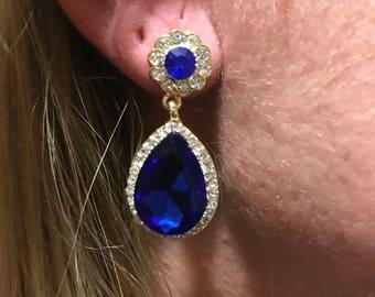 Blue Crystal Earrings, Gold filled earring, blue earring, crystal earring, gift for her