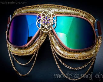 """Burning Man Festival Goggles: """"Cerebral Geometry"""" ~ Anti-Dust, UV protection, steampunk aviator style - perfect for the playa!"""
