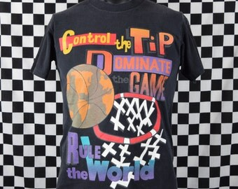 Vintage 90s Basketball T-shirt / Control the Tip / Dominate the Game / Rule the World / Basketball Tee Shirt / Made in USA