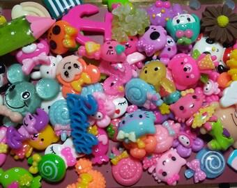 Kawaii Cabochons - Resin Flatbacks - Cabochon Grab Bag - Decoden Supplies - Diy - Jewelry Supplies - Craft Supplies - Kitsch - Random Mix