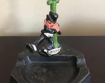 Vintage Cast Iron Ashtray Drunken Man Hugging Lamp Post NYC