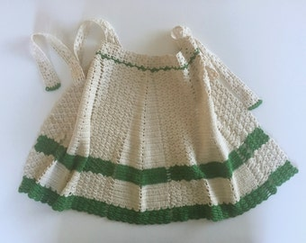 Vintage Crocheted Apron, Green and White Crochet Apron, Cotton, 1940s, Handmade Apron, Mid Century Kitchen Decor, Gift for Her