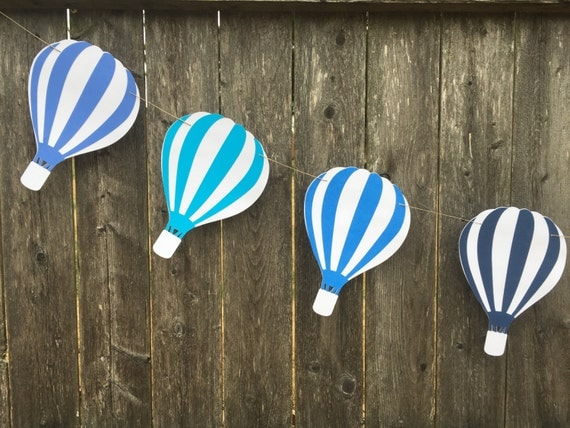 Hot air balloon garland hot air balloon banner hot air for Balloon banner decoration