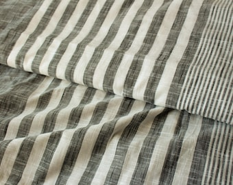 1 yard of South Cotton Fabric, Handwoven Fabric, Indian Cotton Fabric, Grey and White Fabric, Striped Fabric