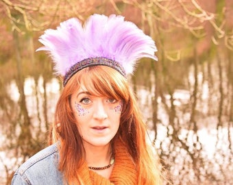 Handmade Feather Headdress, Violet Boho Gypsy Crown, Indian Headband