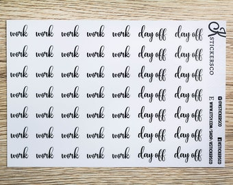 Work - Day off Script Stickers for Erin Condren and Recollection Life Planner