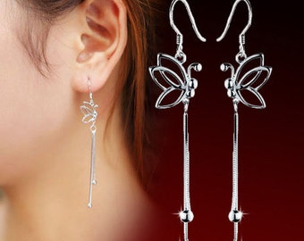 Butterfly drop earring -  silver color - Metal Texture - alloy - High fashion jewelry - Gift - Wedding jewelry - E070