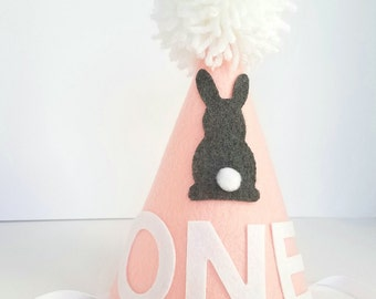 Bunny first birthday hat, girl's first birthday hat, pink bunny hat, girl's bunny hat