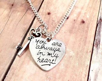 Heart Necklace, Always in my Heart charm necklace, charm necklace, for her, Valentine's Day jewelry, gift for her
