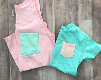Mommy and me Pocket Tank set, Mint & Pink