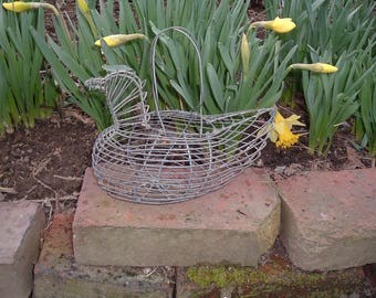 Tiny Vintage Wire Egg Basket