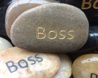 Engraved Stones / River Rocks with Inspirational Words - Gifts or Paper Weights - Boss
