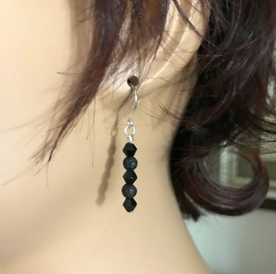 Diffuser Earrings with Lava Beads, Black Swarovski Crystals and .925 Solid Sterling Silver Ear Wires. Essential Oil Diffuser Earrings.