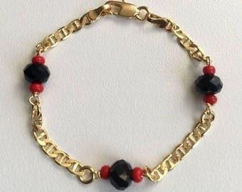 """18K Gold Filled  Azabache Bracelet for Baby  5,5""""/Pulsera De Azabache Para Bebe 5.5"""""""