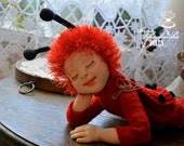 Reserved for Peggy-Litlle Ladybug- handmade doll- textile doll- fabric doll- rag doll- home decoration- handmade toy