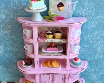 Pink shabby chic bakery shelf, miniature cake cupboard, dollhouse pastries and cakes