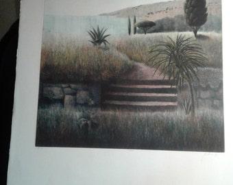 "Nicholette Jelen, ""Steps"", Mezzotint Engraving, 1983, Pencil signed, Free Shipping.."
