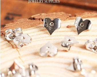 White Gold Heart Earring Backs Stoppers