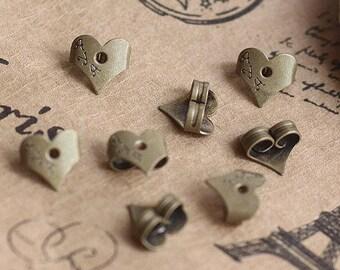 Bronze Heart Earring Backs Stoppers