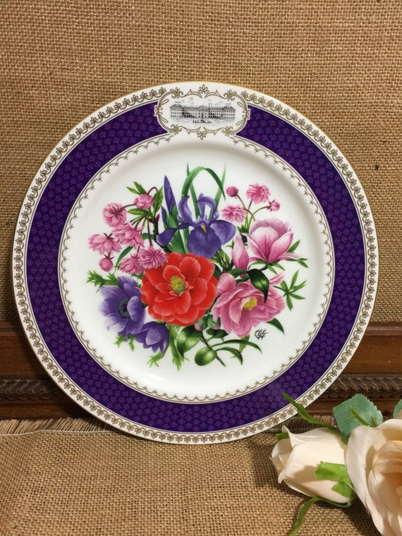 """RHS 1986 Chelsea Flower Show Fine Bone China Plate by AYNSLEY - Chelsea Glory - 9"""" Decorative Plate - Vintage English Cabinet Plate"""