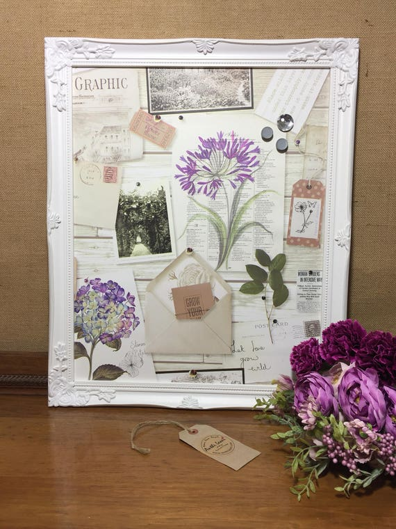 Garden Lovers Magnet Notice Board Covered in Botanical Paper - Framed Magnet Board - Shabby Chic Style Kitchen Memo Board - Magnetic Board