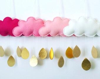 Baby Mobile Girl - Cloud Raindrop Mobile - Nursery Mobile - Baby Boy Mobile - Crib Mobile - Pink and Gold Nusery -Cloud Theme Nursery