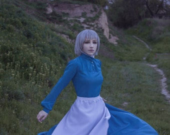 Anime Manga Cosplay Costume Sophie Hatter Howl's Moving Castle Halloween Handmade Adult. Premium Vesion - Dress Apron Petticoat CUSTOM ORDER