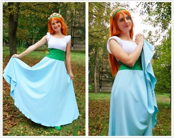 Thumbelina Disney cosplay costume adult, Disney Princesses, Halloween costume, white blue dress, Adult. Basic dress. In STOCK. READY to SHIP