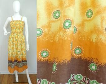 Vintage Tribal Print Summer Dress Size Small/Medium, Medallion Dress, Smocked Elastic Dress, Cotton Dress, Beach Dress, Sundress, Summer
