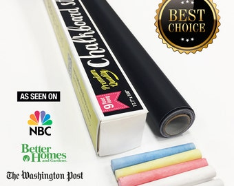 Chalkboard Contact Paper - 9 foot roll (108 inches) + (5) Color Chalk Included, Chalkboard Wall Decal, Blackboard Wall Decal