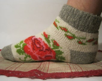 Nordic Beautiful knitted Angora wool socks for women. Pattern Rose flower. EU-37-39/ US- 7-9 Soft, warm and very comfortable