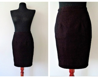 Fitted Pencil Skirt, Burgundy Pencil Skirt, Office Casual Skirt, Mini Skirt, Son Jung Wan Clothing,