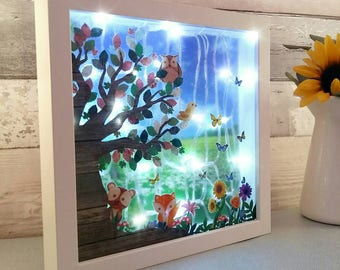 Woodland Night Light, Forest Creatures Bedroom, kids room lighting, Fox lightbox, childs room gift, daughter's present, new baby shower gift