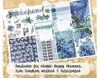 Floral Glitter sampler stickers- for Happy Planner, Erin Condren Horizontal Planners -  spring flowers summer blue watercolor