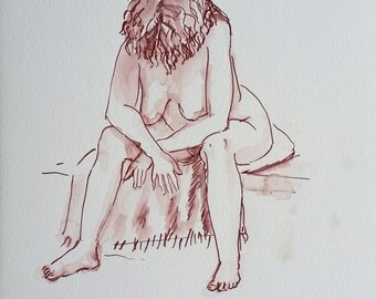 Original Watercolor Woman Figurative Painting, Fine Art Painting, Female Figure Drawing, Female Nudity Art, Naked Woman Art, Figure Painting
