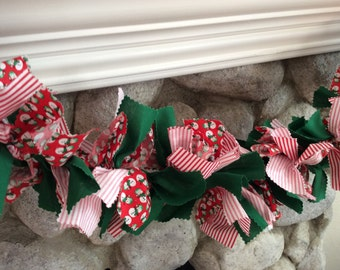 Christmas Rag Garland/ Fabric Garland/ Rag Garland/ Garland/ Christmas/ Snowmen / Red & White Stripes/ Red and Green