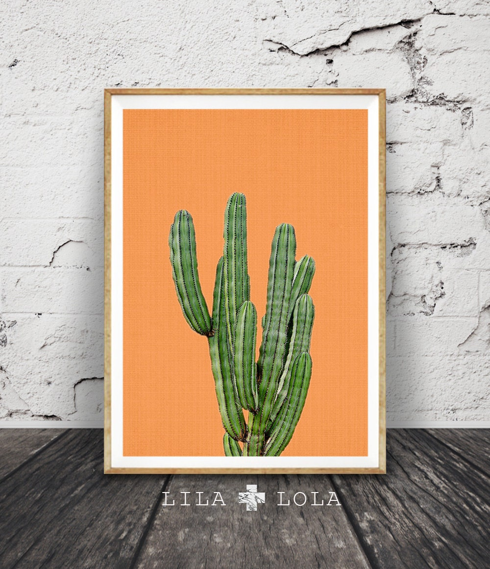 Mexican Terracotta Wall Sconces : Cactus Print Mexican Wall Art Aztec Mexico Decor Orange