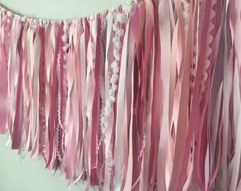 ribbon garland /  wedding decor garland / pink nursery garland / ribbon backdrop / nursery decor / bridal shower decor / baby shower decor