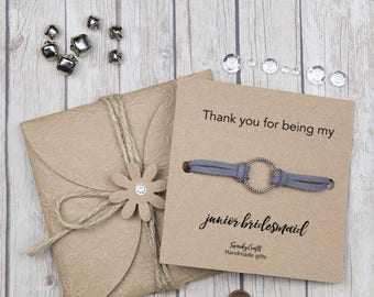 Thank you for being my junior bridesmaid gifts - junior Bridesmaid bracelets - eternity bracelet - friendship bracelets - handmade bracelets