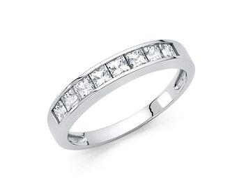 14k Solid White Gold Diamond Wedding Band Ring 1.0 Ct Princess Cut Channel Set