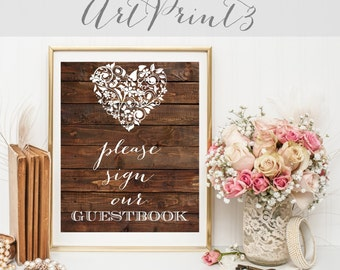 Rustic Wedding Please Sign Our Guestbook Printable, Barn Wood Wedding Printable, Instant Download, Wedding Digital Print, Sign Our Guestbook