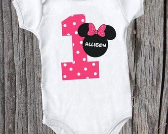 Minnie Inspired First Birthday Onesie/Shirt