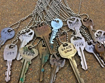 Mission trip fundraiser - stamped key necklaces
