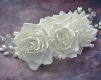Wedding hair accessories Bridal hair comb Wedding hair piece Bridal hair clip White rose hair comb Bridal hair jewelry  Wedding hair flower