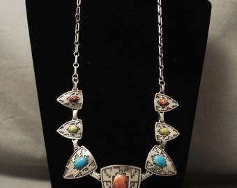 Magnificent Vintage Navajo Turquoise 'Silver Sheild' Necklace