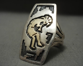 Early And More Rare Vintage Oscar Alexius Gold Kachina Silver Ring