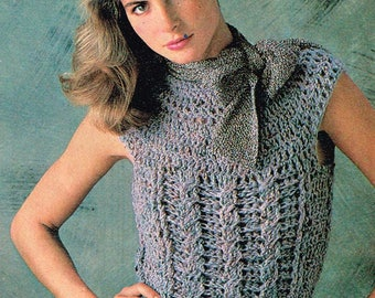 Vintage Crochet Pattern - Cap Sleeve Pullover - 80's - Instant download PDF - retro sweater