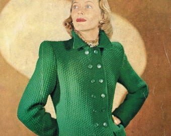 Vintage 40s Knitting Pattern - Woman's Short Coat from 1946 - instant download PDF - 1940's Retro Jacket